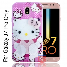 KC Mirror Kitten Girl with Diamonds Studs Back Cover for Samsung Galaxy J7 Pro - Pink